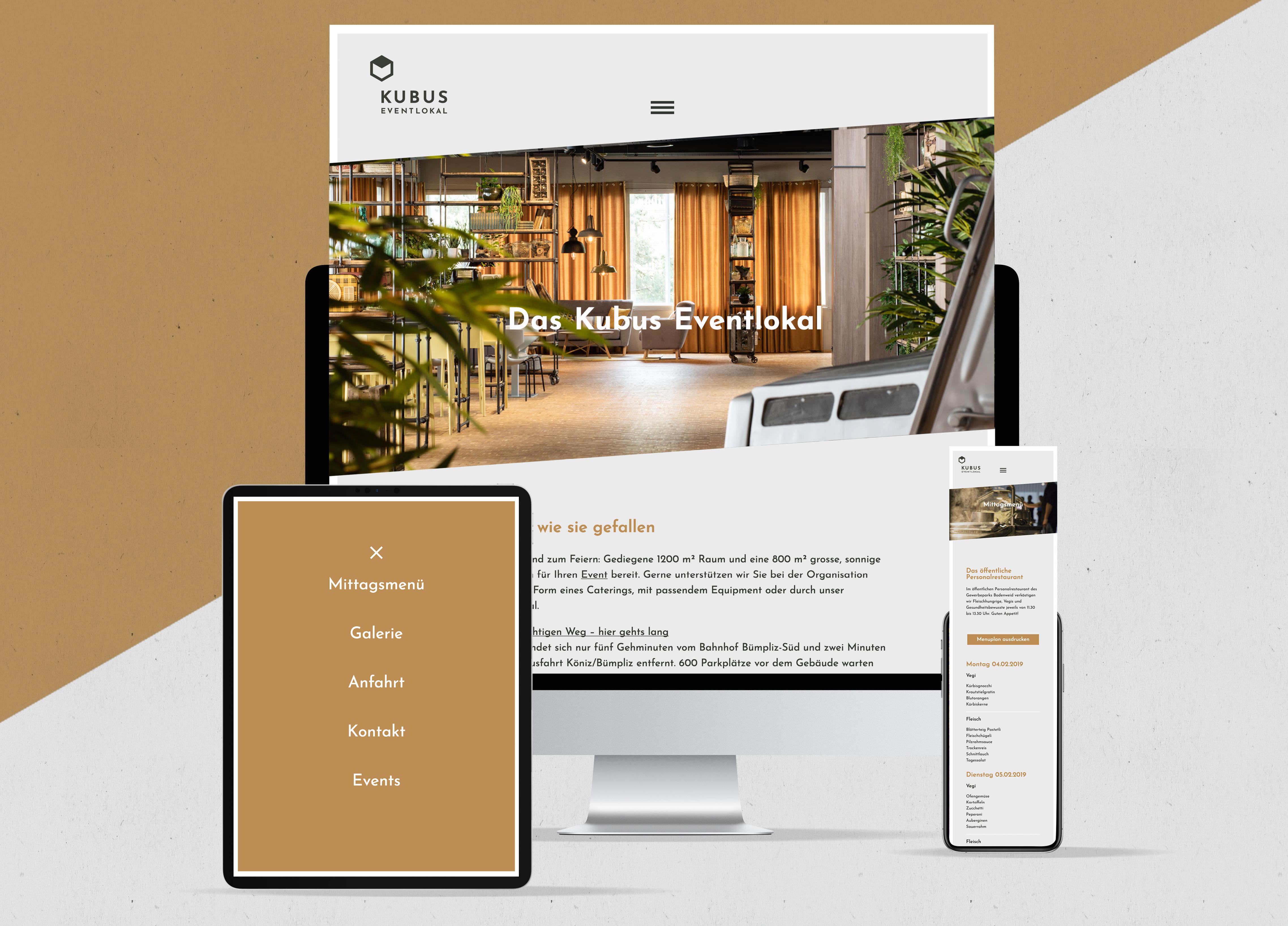 Kubus Eventlokal Branding Responsive Website MHG Bern