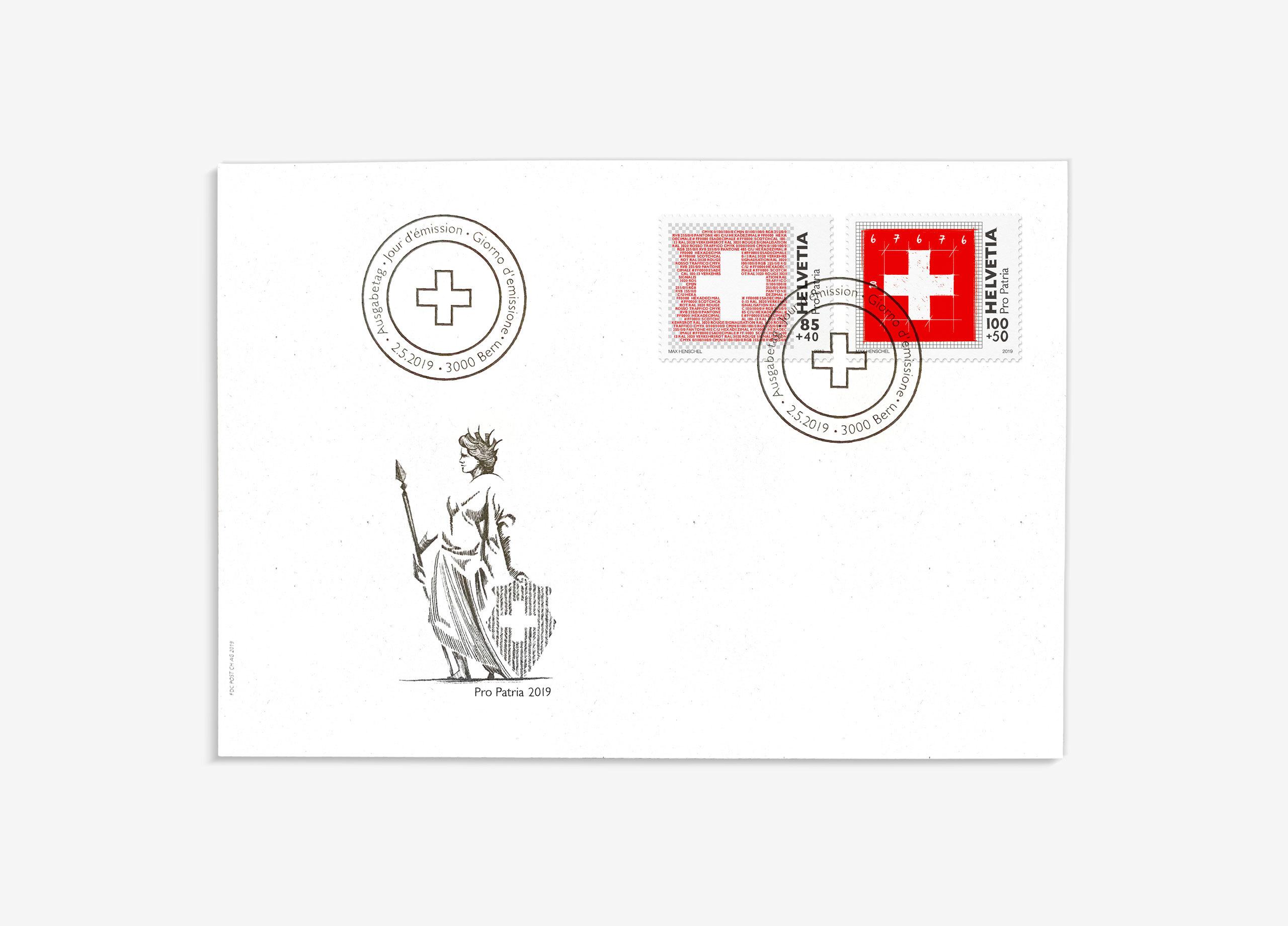 Propatria Briefmarke Schweizer Flagge 05 01 MHG Bern