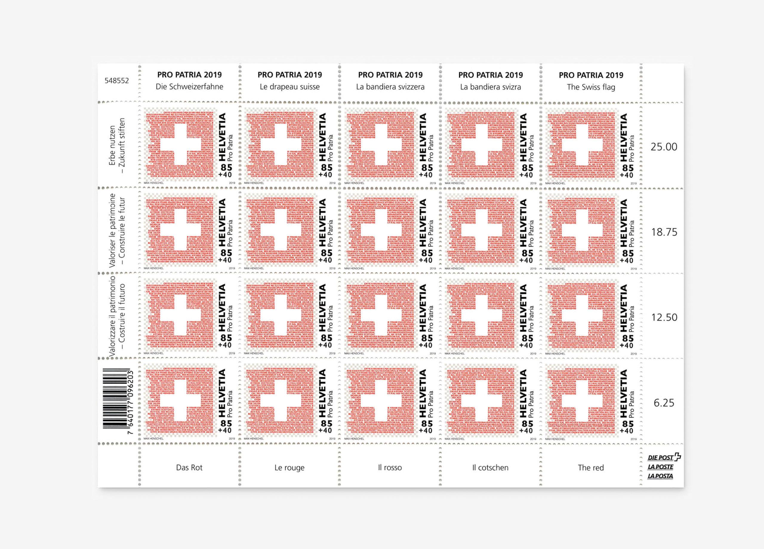 Propatria Briefmarke Schweizer Flagge 06 MHG Bern