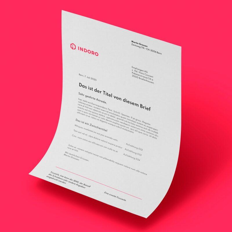 Indoro Corporatedesign Briefschaft Briefbogen MHG Bern